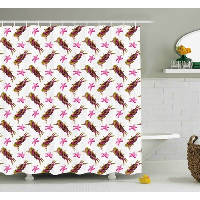 Leanne Illustration of Crabs and Starfish Cartoon Style Decorative Design Print Shower Curtain Size: 69 W x 84 H