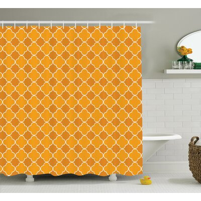 Christi Quatrefoil Clover Girih Tile Pattern East Trellis Tradition Floral Oriental Arabic Shower Curtain Size: 69 W x 70 H