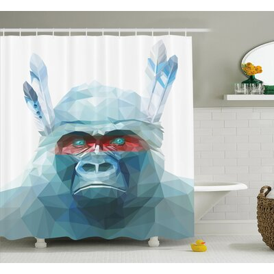 Leola Gorilla With Tribal Feathers Digital Triangle Geometric Style Indian Monkey Zoo Art Shower Curtain Size: 69 W x 70 H