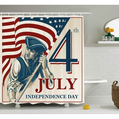 4th of July Watercolor Stylized American Soldiers Happy Independence Day War Picture Shower Curtain Size: 69 W x 70 H