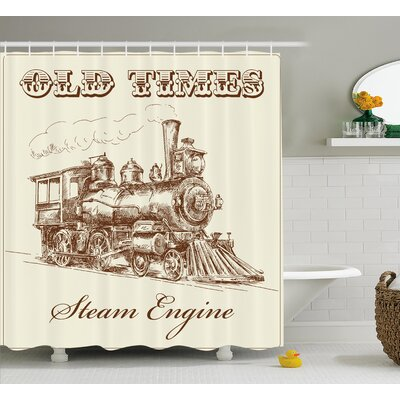 Jacklyn Steam Engine Old Times Train Vintage Hand Drawn Style Iron Industrial Era Locomotive Retro Art Shower Curtain Size: 69 W x 75 H