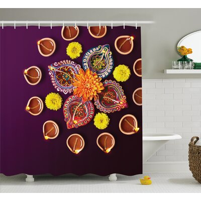 Fischer Diwali Festive Celebration Religious Sacred Day Diwali Flowers and Burning Candles Print Shower Curtain Size: 69 W x 70 H