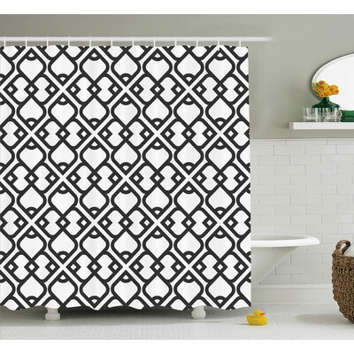Keiko Arabesque Chevron Pattern With Middle Eastern Effects Traditional Minimalist Design Shower Curtain Size: 69 W x 70 H