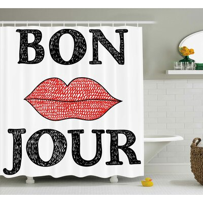 Kawamoto Lifestyle Hand Drawn Vintage Bon Jour Quote With Female Lips French Good Day Image Shower Curtain Size: 69