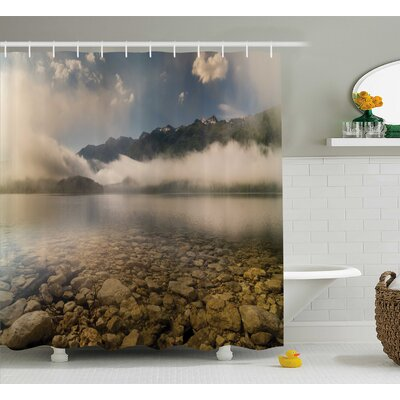 Natalie Alpine Lake With Stones Rocks Shower Curtain Size: 69 W x 70 H