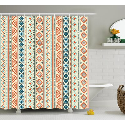 Maxine Tribal Mexican Style Aztec Pattern Retro Hand Drawn Style Abstract Shower Curtain Size: 69 W x 70 H