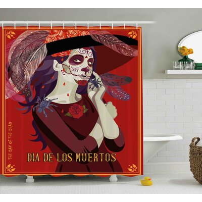Cherryl Day of The Dead Skull Dead Corpse Cute Girl With Hat and French Dress Shower Curtain Size: 69 W x 70 H