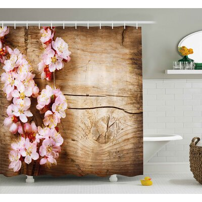 Daniels Spring Blossom Orchard Featured Plant on Wooden Board Background Image Shower Curtain Size: 69 W x 70 H