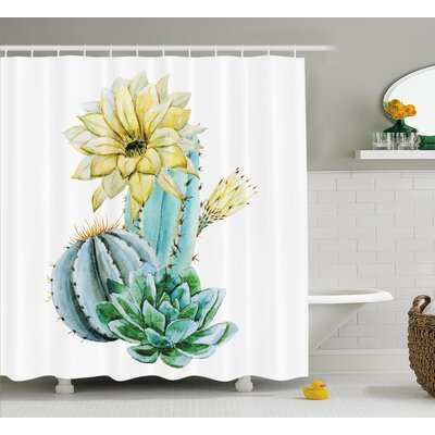 Pascoe Vector Image With Watercolor Cactus With Spikes and Alluring Flowers Print Shower Curtain Size: 69 W x 70 H