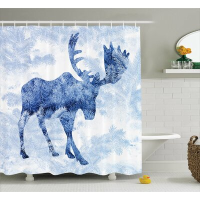 Burt Moose Blue Pattern Pine Needles Spruce Tree With Antlers Deer Family Snow Winter Horns Shower Curtain Size: 69 W x 70 H