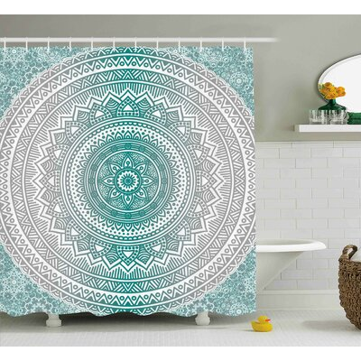 Yvette Grey and Teal Mandala Ombre Design Sacred Space Geometric Center Point Boho Meditation Art Shower Curtain Size: 69 W x 70 H