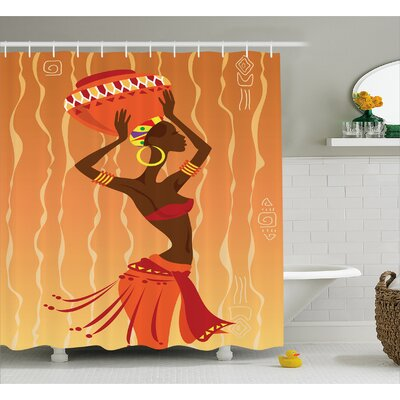 Hakam Vintage Tribal Art Stylized Girl Shower Curtain Size: 69 W x 70 H