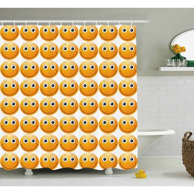 Janet Emoji Smiley Technologic Modern Happy Loving Mood Full Face Expressions Plain Art Image Print Shower Curtain Size: 69 W x 75 H