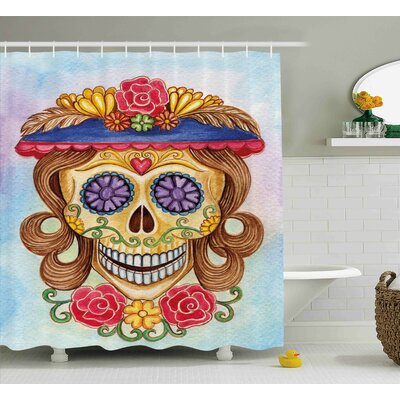 Liliana Day of The Dead Cute Lady Mommy Skull Head With Flower Hat Spanish Mexican Art Print Shower Curtain Size: 69 W x 70 H
