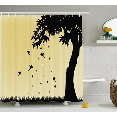 Ronda Autumn Theme Silhouette of a Tree With Falling Leaves and Birds Pattern Shower Curtain Size: 69