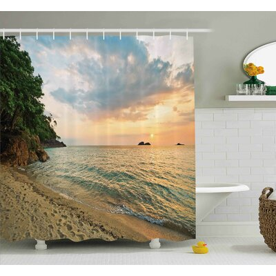 Dorothy Landscape Sunset Dawn Sea Island Romance Tropic Botanic Tree Photo Shower Curtain Size: 69 W x 70 H