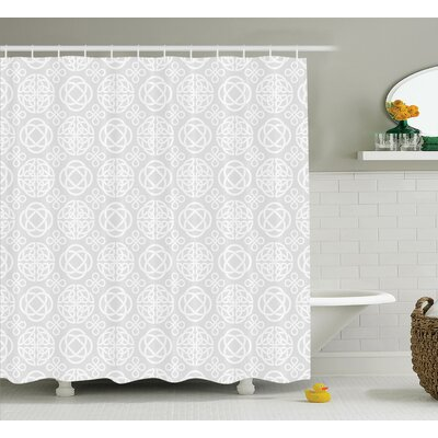 Kasia Tribal Knots Eternity Pattern Boho Decor Ireland Irish Cross Floral Artprint Shower Curtain Size: 69 W x 70 H