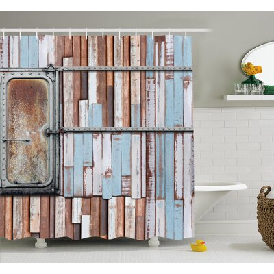 Spears Wooden Rustic Colored Rusty Planks With Old Ship Door Marine Themed Artwork Shower Curtain Size: 69 W x 70 H