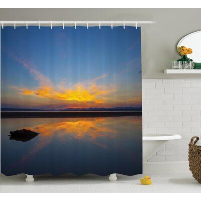Collins National Park Sunrise on Lakeside Romantic Nature Theme Outdoor Picture Shower Curtain Size: 69 W x 70 H