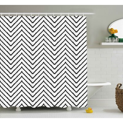 Karyn Modern Geometric Triangle Zig Zag Triggering Lines Minimalist Pattern Decor Shower Curtain Size: 69