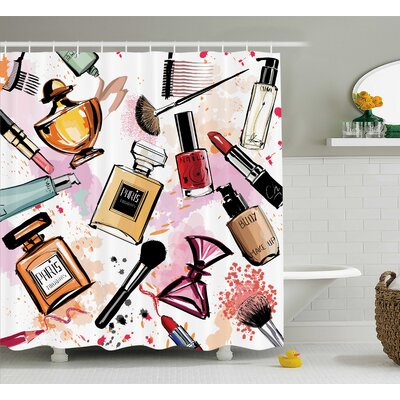 Patrica Girly Cosmetic Make Up Theme Pattern Perfume and Lipstick Nail Polish Brush Modern City Shower Curtain Size: 69 W x 70 H
