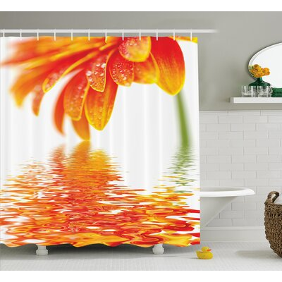Bahriya Sun Flower Reflection on Water In a Rainy Day With Leaves Shower Curtain Size: 69 W x 70 H