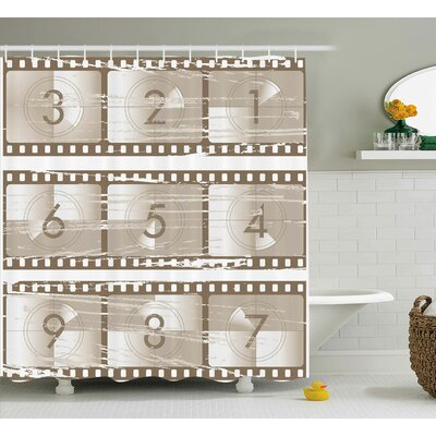 Tadashi Numbers Vector Style Illustration of Countdown Numbers on a Film Strip Pattern Shower Curtain Size: 69 W x 70 H