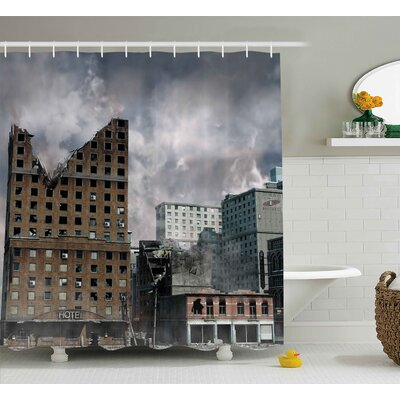 Michele Landscape Scenery View of a Urban City After a Huge Bomb War Disaster Scary Abandoned Image Shower Curtain Size: 69 W x 70 H