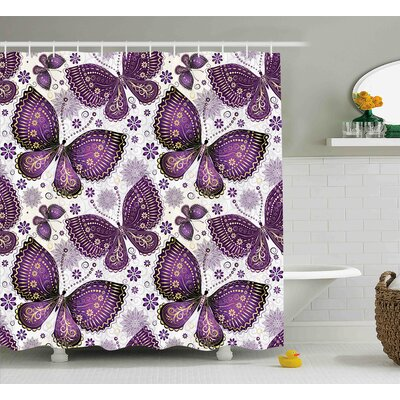 Elvira Natural India Asian Butterflies With Paisley Motif on Wings Flowers Art Shower Curtain Size: 69 W x 70 H