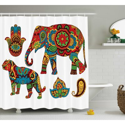 Asherton Hamsa African Savannah Animals Paisley Sacred Pattern With Oriental Ornate Malaysian Print Shower Curtain Size: 69