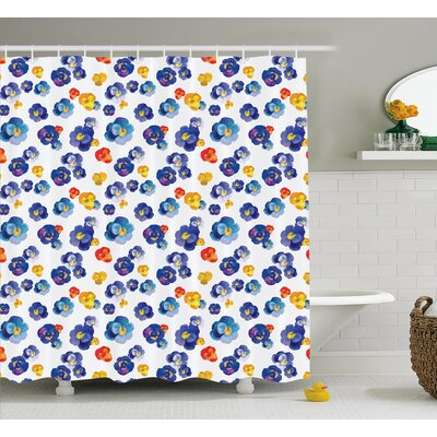 Keese Nature Botanic Colored Violet Floral Tiny Flowers Art Print Shower Curtain Size: 69 W x 70 H
