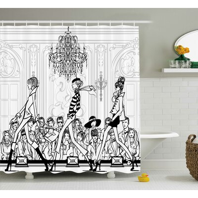 Emma Girly Fashion Show With Catwalk Mannequins and Audience Supermodel Human Art Image Shower Curtain Size: 69 W x 84 H