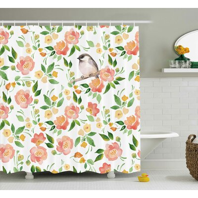 Stiller Petals Blossoms Leaves and Bird Sitting Vintage Elegance Image Shower Curtain Size: 69 W x 70 H