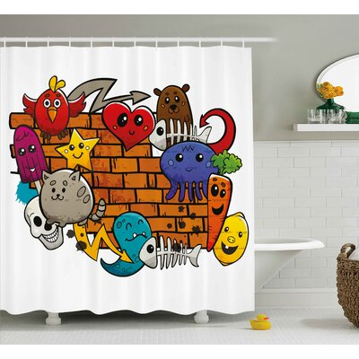 Harriet Graffiti Cute Cartoon Animals Stars Fish Skulls Cat Bird Figures on Brick Wall Kids Design Shower Curtain Size: 69 W x 70 H