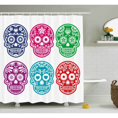 Savannah Day of The Dead Skull Oriental Mexican Sugar For Festive Shower Curtain Size: 69 W x 70 H