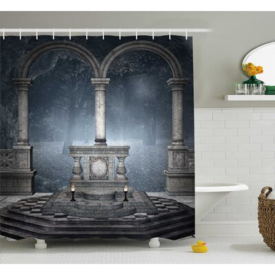 Gothic House Altar on Checkered Floor Shower Curtain Size: 69 W x 75 H