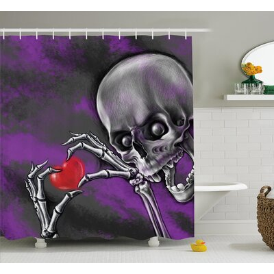 Skull Spooky Scary Skeleton Holds Eternal Love Sybol Heart Shower Curtain Size: 69 W x 75 H
