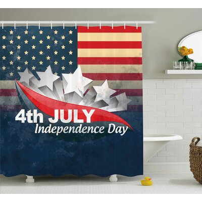 4th of July American Soldiers Standing With Us Flag War Save Country Hero Liberty Display Shower Curtain Size: 69 W x 70 H