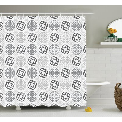 Oliver Traditional Ireland Round Cross Celtic Love Knots With Shamrock Motifs Art Shower Curtain Size: 69 W x 75 H