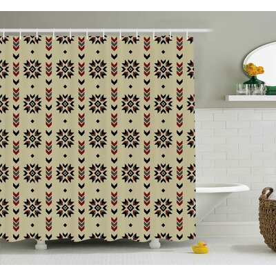 Vinoe Ethnic Tribal Chevron Colored Flowers Like Geometric Stripes Artwork Image Shower Curtain Size: 69 W x 70 H