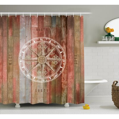 Eastchester Ocean Sea Life Yacht Themed Warm Colored Wooden Backdrop With Compass Image Shower Curtain Size: 69 W x 84 H