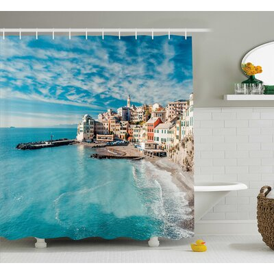 Kristin Panorama of Old Italian Fish Village Beach Old Province Coastal Charm Image Shower Curtain Size: 69 W x 70 H