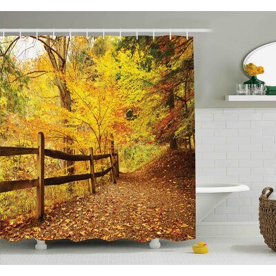 Berinda Landscape Autumn Season Fall Trees Leaves on Pathway to Forest With Fence Photo Shower Curtain Size: 69 W x 70 H
