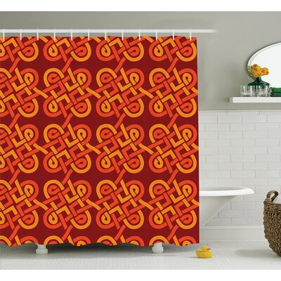 Cash Multi Colored Interlaced Decorative Vintage Celtic Knot Forms European Graphic Shower Curtain Size: 69 W x 75 H