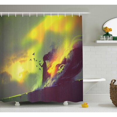 Carmen Fiery Burnt Girl With Magic Flames on Roof of House Night Mystical Image Shower Curtain Size: 69 W x 75 H