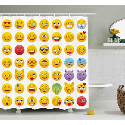 Luisa Emoji Cartoon Like Smiley Faces of Mosters Happy Sad Angry Furious Moods Expressions Print Shower Curtain Size: 69 W x 70 H