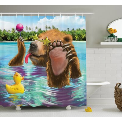 Jayne Animal Happy Fancy Wild Bear Shower Curtain Size: 69 W x 70 H