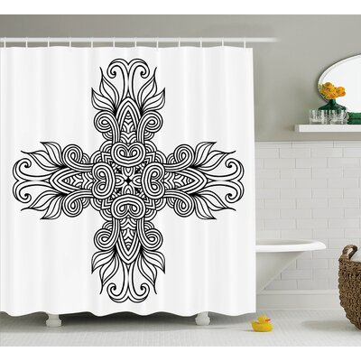 Ragnar Royal Old Knot Pattern With Curled Lace Leaf Figures Renaissance Times Decor Shower Curtain Size: 69 W x 70 H