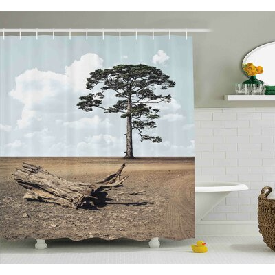 Lucinda a Tree on The Arid Terrain and Driftwood Cloudy Sky Digital Image Shower Curtain Size: 69 W x 70 H