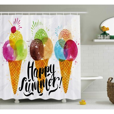 Hollie Food Cute Print of Ice Cream Cones and Fruit Milk Dessert For Kids Sequal Artwork Shower Curtain Size: 69 W x 84 H